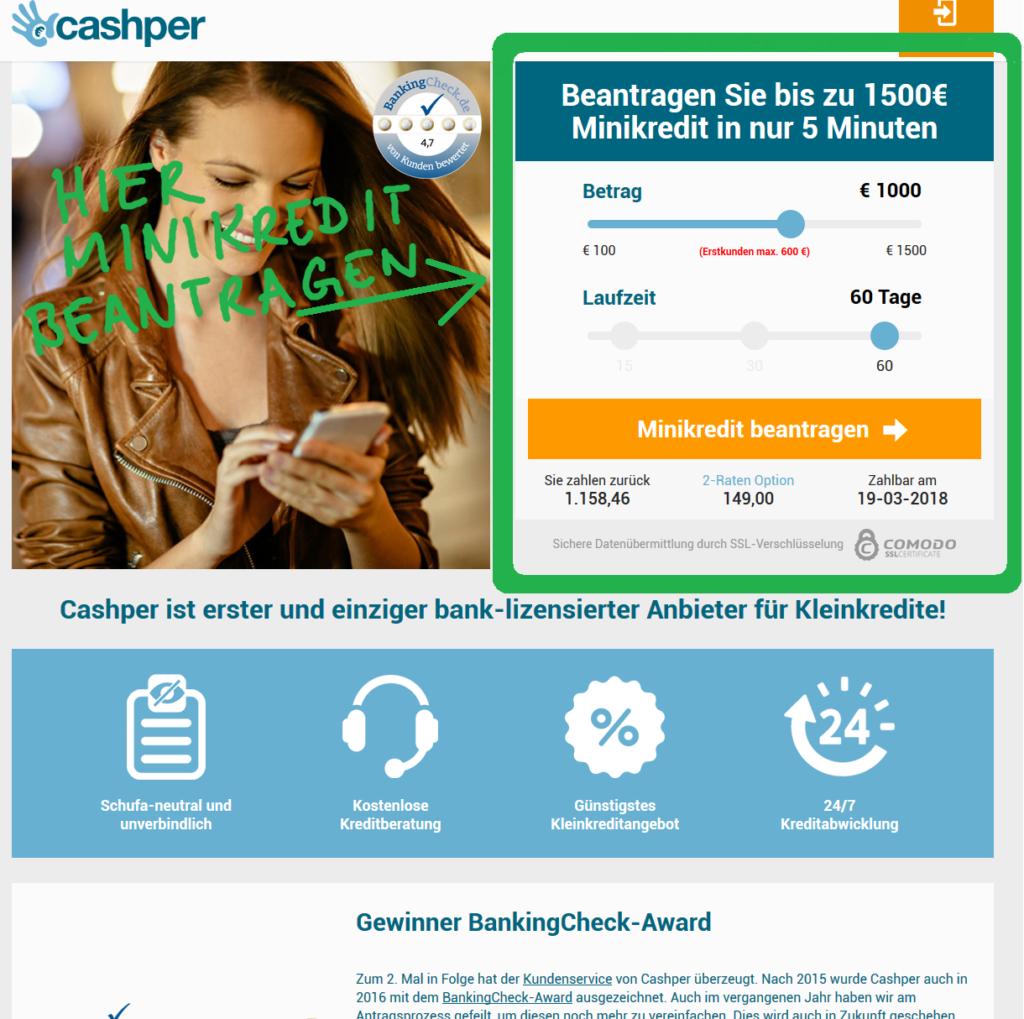 Cashper Minikredit beantragen